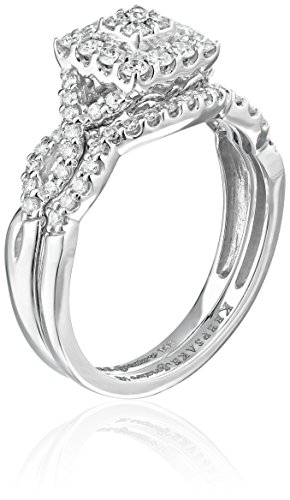 Keepsake Signature 14k White Gold Diamond Twist Halo Ring with Matching Wedding Band Set (3/4cttw, H I Color, I1 Clarity)