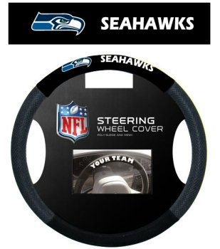Seattle Seahawks Steering Wheel Cover - Seattle Seahawks NFL Team Logo Car Truck SUV Poly-Suede Mesh Steering Wheel Cover