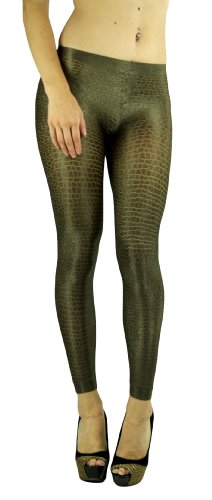 ToBeInStyle Women's Elastic Animal Print Footless Leggings - One Size - Phython Shimmery Gold