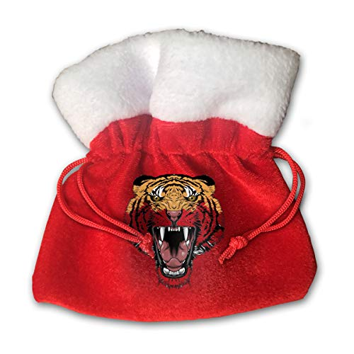 - OHMYCOLOR Tiger Face Animal Christmas Drawstring Gift Bags Candy Santa Sack Bag for Xmas Stocking Socks Hats Snowman Reindeer Tree Decorations Set Festival Party