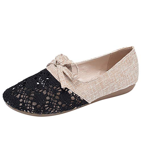 ◕‿◕Water◕‿◕ Women's Slipper,Women Non-Slip Breathable Comfortable Flats Linen Ethnic Style Casual Shoe Light Slippers Black