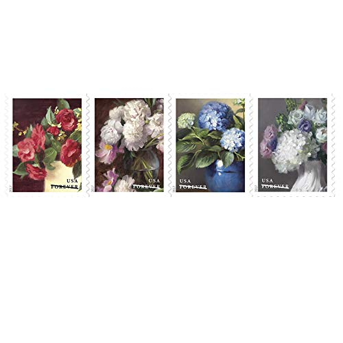 Blue Postage Stamp - Flowers from The Garden 1 Strip of 100 USPS First Class Postage Stamps Celebrate Beauty Wedding (100 Stamps)