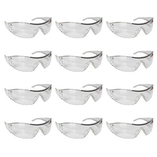 03ad7ccdb7b145 Lot de 12 paires de Lunettes de Protection Transparentes par Kurtzy -  Lunette pour Protéger les Yeux avec des Verres en Plastique Transparents -  Gros Lot ...