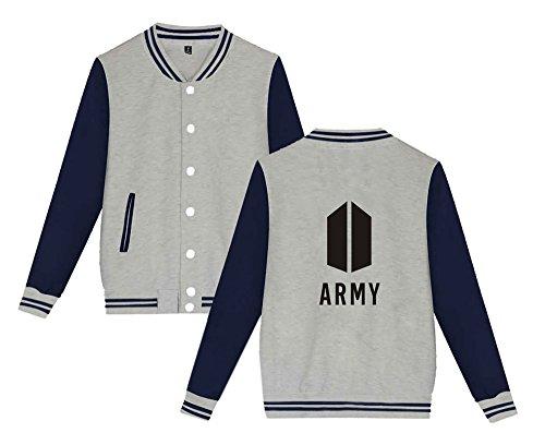 Top Da Stampate Confortevole Grey Sweatshirt Bts Moda Uomini shirt Per Aivosen T Army E Unisex Felpe Cappotto Donne Giacca Baseball RqPXnZxw
