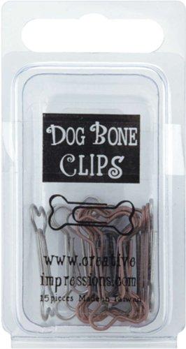 Pewter Metal Embellishments - Metal Dog Bone Paper Clips -Pewter & Antique Copper