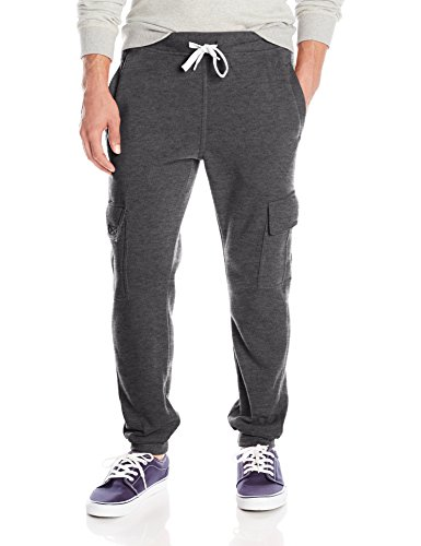 (Southpole Men's Active Basic Jogger Fleece Pants, Heather Charcoal  (Cargo),)