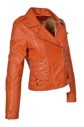 para biker Chaqueta y Girls de Beyonce estilo naranja Trendy genuino con abrigo mujer cuero cremallera S5qqXwr