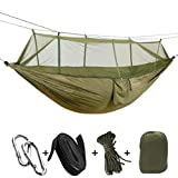 Single & Double Camping Hammock with Mosquito/Bug Net, 9ft Hammock Tree Straps and Carabiners, Easy Assembly, Portable Parachute Nylon Hammock for Camping, Backpacking, Survival, Travel & More