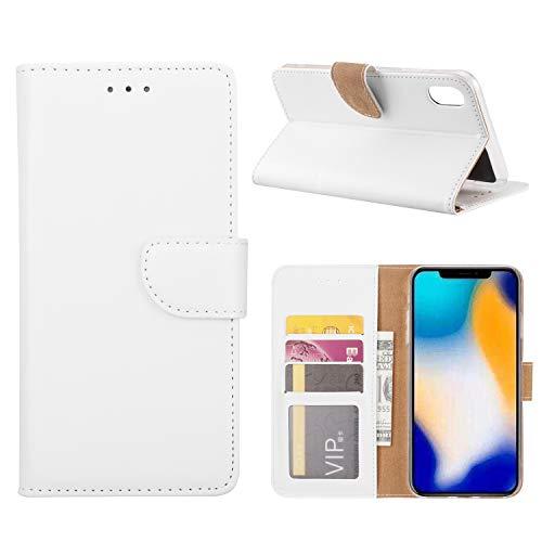 (iPhone Xs Max Xs XR Slim Wallet Case Premium Folio Case (White, iPhone Xs)