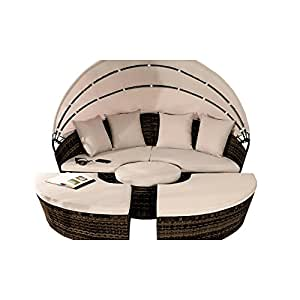 Comfy Living ratán cama de día tumbona 210cm con plegable toldo Patio Set en marrón con tapa