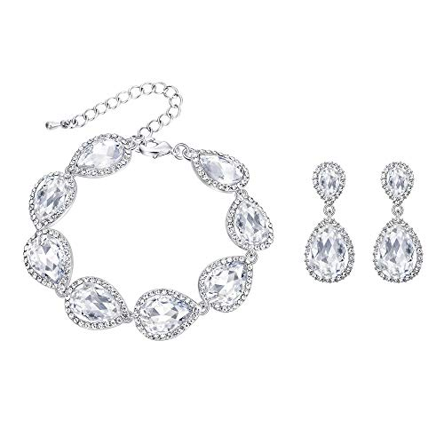 EVER FAITH Women's Crystal Elegant Bridal Prom Teardrop Pierced Earrings Bracelet Set Clear Silver-Tone
