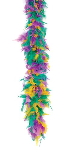 Loftus International Mardi Gras Fluffy Feather Boa Gold Green Purple One Size 72