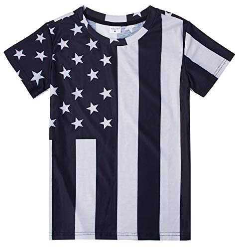 Kids Pullover Novelty T-Shirt America Flag Star Bright Color Full Printed Tees for Sports Gym Class School 14T 15T 16T(America Flag,Large) ()
