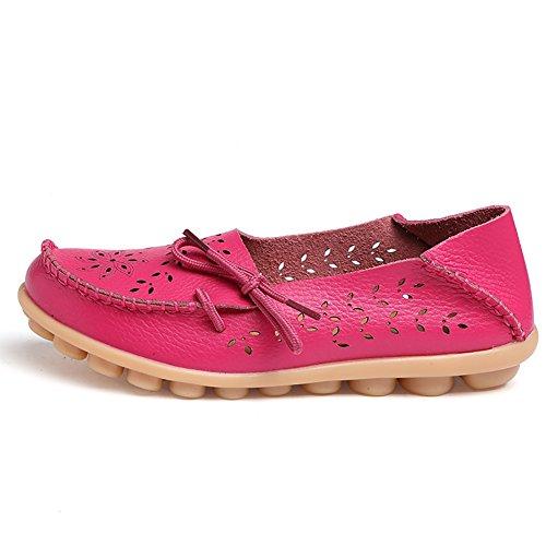 Blivener Kvinna Tillfälliga Spets-up Loafers Ihåliga Platta Skor Sommar Tofflor Mörkrosa