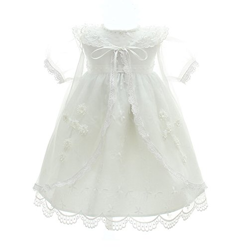 Moon Kitty Baby Girl 3PCS Christening Dress Embroidery Jesus and Cross Baptism Party Dresses For Baby Girls -