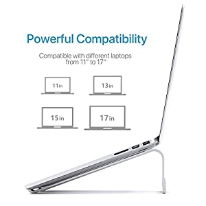 Laptop Stand iQunix Aluminum Ventilated Stand UPDATE VERSION - Ergonomic Riser Portable Holder for Macbook Pro, All Notebooks,Silver