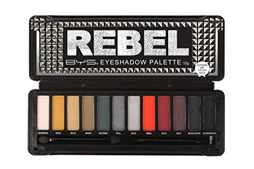 Hypoallergenic Matte Foundation - BYS 12 Shade Rebel Eyeshadow Palette Tin Collection with Studded Tin Collection with Mirror, Double Ended Applicator and Blender, Highly Pigmented Matte and Metallic Shades