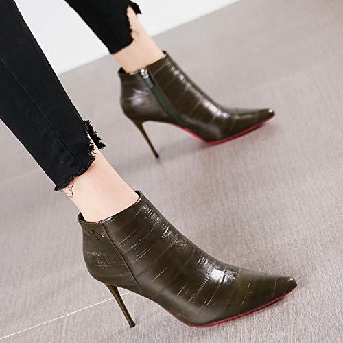 HRCxue Zapatos de la Puntiagudos Corte Tacones de Aguja Puntiagudos la de Mujer Letras Sexy Botas Desnudas Botas Delgadas, 38, Verde 136bcb