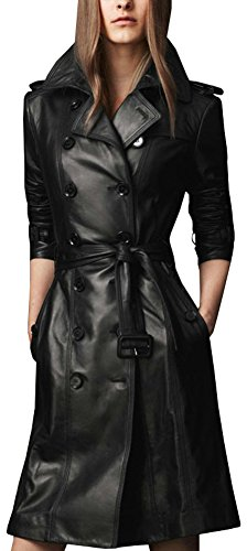 Long Black Ladies Leather Coat - 2