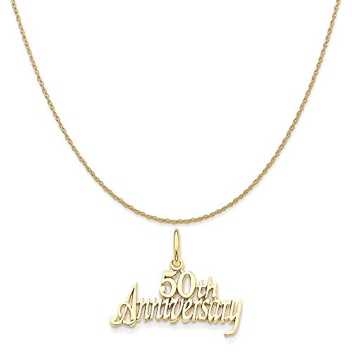old 50Th Anniversary Charm on a 14K Yellow Gold Rope Chain Necklace, 20