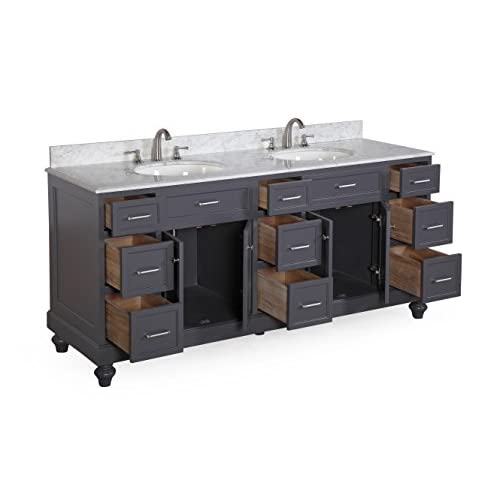 "free shipping Amelia 72"" Bathroom Vanity (Carrara/Charcoal Gray)"