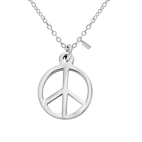 Peace Sign Symbol Pendant Charm Necklace Stainless Steel 18'' (Tone Peace Necklace)