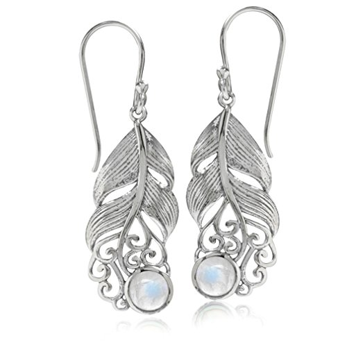 Silvershake Natural Moonstone 925 Sterling Silver Feather Victorian Style Dangle Hook Earrings
