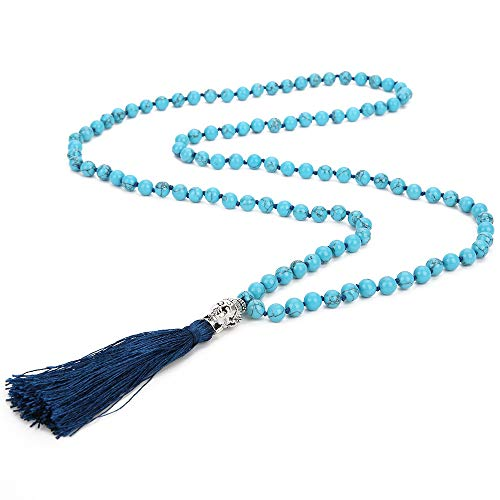 - Molike Tassel Lava Rock Natural Stone Turquoise Beads Necklace Strand Long Statement Jewelry for Women (Style: 4)