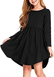 Arshiner Girl Long Sleeve A Line Skater Casual Twirly Casual Dress