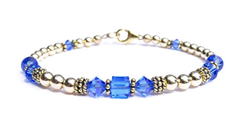 (DAMALI 14k Gold Fill & Antiqued Vermeil Beaded Bracelet, Crystal Bracelet, Handmade Sapphire Swarovski Crystal September Birthstone Bracelet)