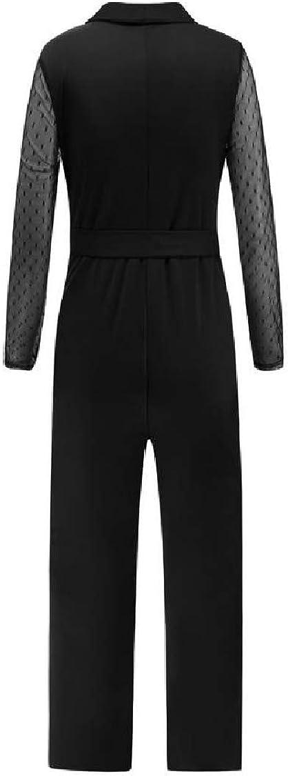 Lutratocro Women Elegant Pants Bowknot Long Sleeve V-Neck Lace Jumpsuits
