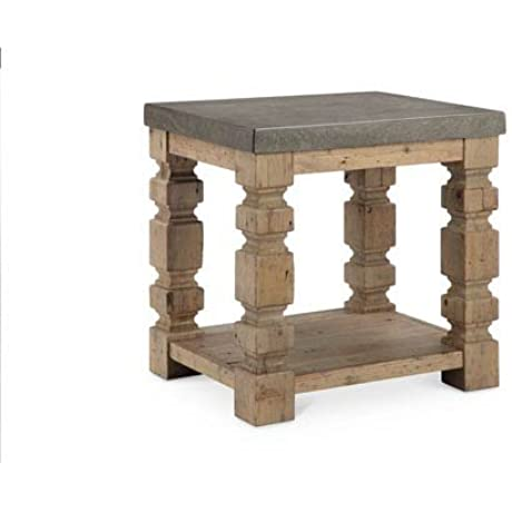 O Brian Rectangular Concrete And Wood End Table