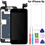 For iPhone 6S Screen Replacement LCD Black - with Home Button Proximity Sensor Ear Speaker Front Camera Screen Protector and Repair Tools