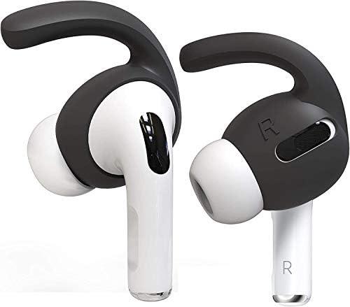 Auyuiiy AirPods Pro Schutzhülle [passt in die Hülle] [bequemes Hören] Kompatibel mit AirPods Pro, Anti-Rutsch-Silikon-Ohrstöpsel AirPods Pro Zubehör 2 Paar (ohne Airpods) (Earhooks, Schwarz)