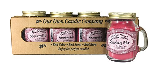 Melon Scented Jar Candle - Our Own Candle Company Strawberry Melon Scented Mini Mason Jar Candle by, 3.5 Ounce (4 Pack)