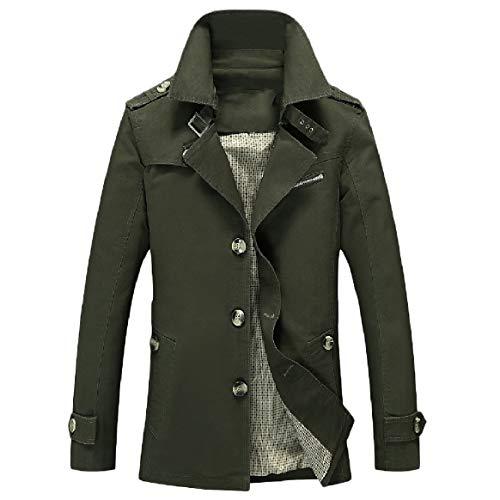 Army Green Pocket Collar Oversized Coat Turn RkBaoye Button Men Casual Down Dust nxgwSvqOPp