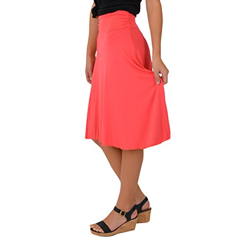 Stretch is Comfort Women's Knee Length Flowy Skirt Coral Medium