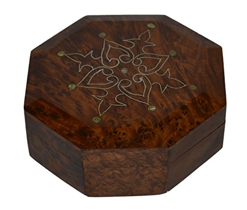 - Thuya Wood Moroccan Handcrafted Box with Light Wood Inlaid Inlead Medium