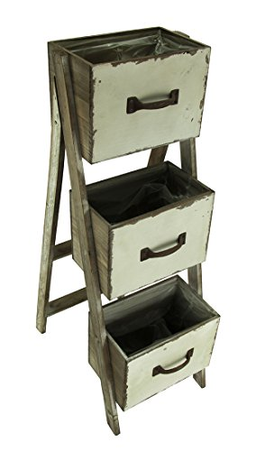 Rustic 3-Tier Folding Wood Drawer Planter Stand ()