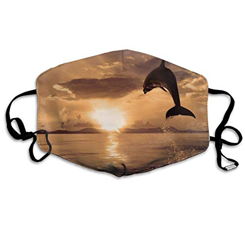 Unisex Mouth Mask Cute Jumping Dolphin Picture Polyester Anti-dust Masks Washed Reusable Face Mask for Outdoor Cycling