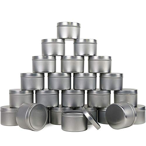 EricX Light Candle Tin 24 Piece, 8 oz, for Candle Making (Candle Empty Tins)