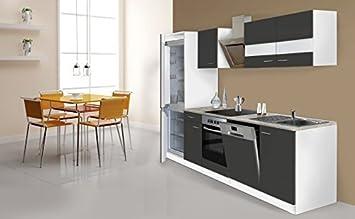 Respekta Küche Küchenzeile Küchenblock 280 Cm Weiß Grau Kühlkombi  Designhaube