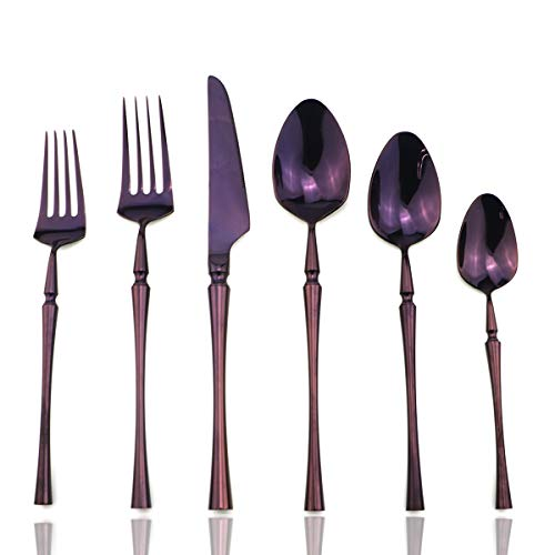 JASHII Silverware Set 6 pcs Stainless Steel Flatware Set Service for 1 Kitchen Tableware Set Elegant Plated Purple Dinnerware Knife Fork Spoon Cutlery Utensil Set for Home Restaurant Hotel Purple ()