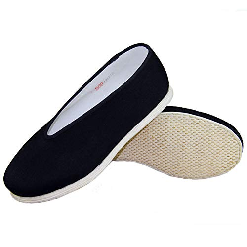 Traditional Chinese Handmade Martial Kung Fu Shoes Slip On Cotton Cloth Flat Sole (US 11) Black