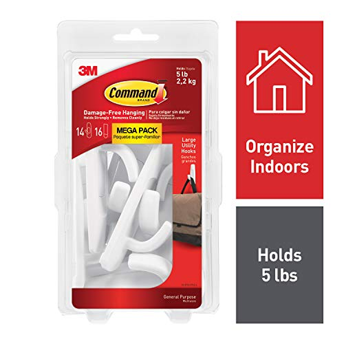 Command 051141993133 Large Utility Mega Pack, White, 14-Hooks, 16-Strips (17003-MPES), 14 Hooks 14 Hooks from Command