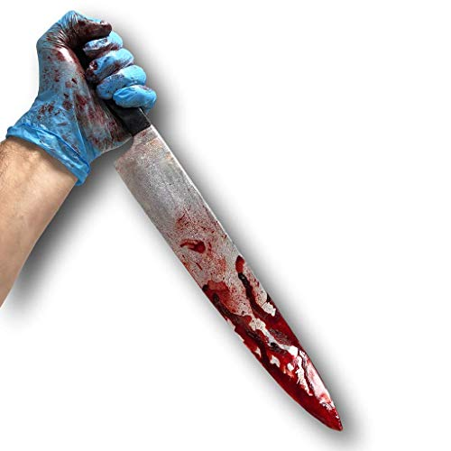 Rubber Johnnies International Bloody Kitchen Knife, Myers Style, Realistic, Movie Prop, Halloween, Horror]()