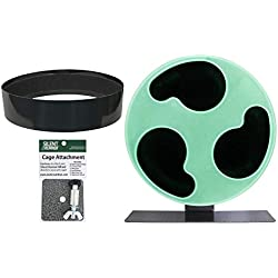 Exotic Nutrition Silent Runner Glow Wheel + Sandy Track + Cage Attachment - Glow in The Dark Pet Exercise Wheel - Sugar Gliders, Hamsters, Rats, Mice, Other Nocturnal Animals