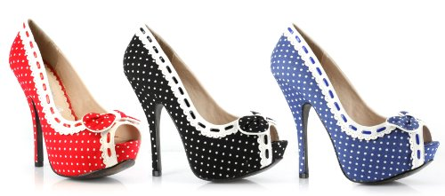 BETTIEPAG Women's 5 Inch Heel Peep Toe, Polka Dot Pump (Peep Toe Polka Dot Pumps)