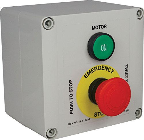 - Single-Phase Motor Starter With E-Stop Button, 1/2 HP Max for Drill Presses, Milling Machines and Lathes