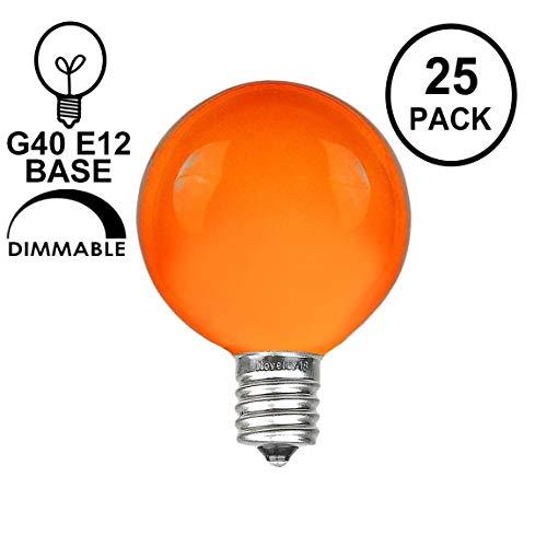 Novelty Lights 25 Pack G40 Outdoor Globe Replacement Bulbs, Orange, C7/E12 Candelabra Base, 5 Watt